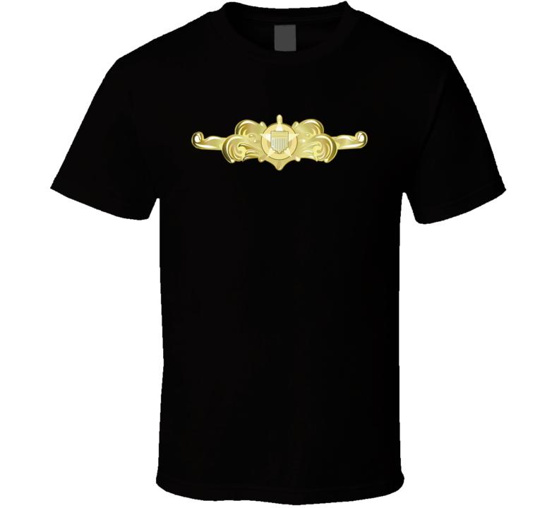 Uscg - Cutterman Badge - Officer - Gold Wo Txt T Shirt