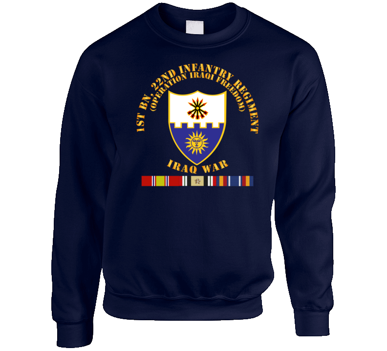 Army - 1st Bn 22nd Infantry - Oif1 - W Iraq Svc Sweatshirt Crewneck Sweatshirt