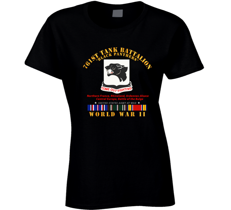 Army - 761st Tank Battalion - Black Panthers - WWII  EU SVC Ladies T Shirt