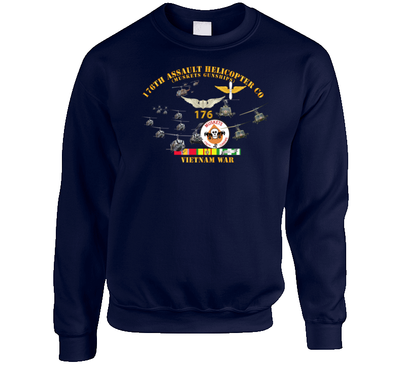 Army - 176th Assault Helicopter Co - Muskets - Helo Aslt woBkgd Crewneck Sweatshirt