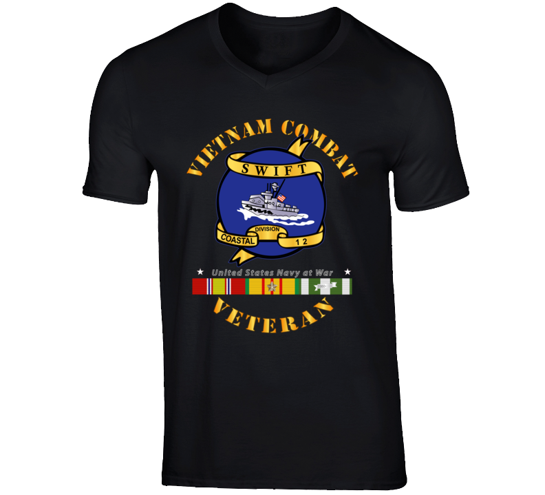 Navy - Vietnam Cbt Vet - Navy Coastal Div 12 - Swift W Svc T Shirt