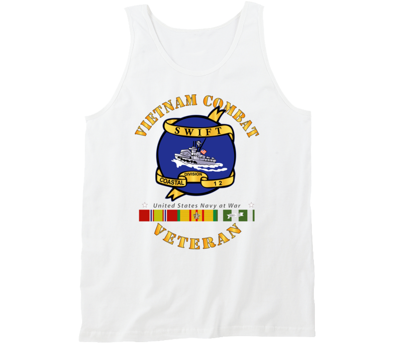 Navy - Vietnam Cbt Vet - Navy Coastal Div 12 - Swift W Svc Tanktop