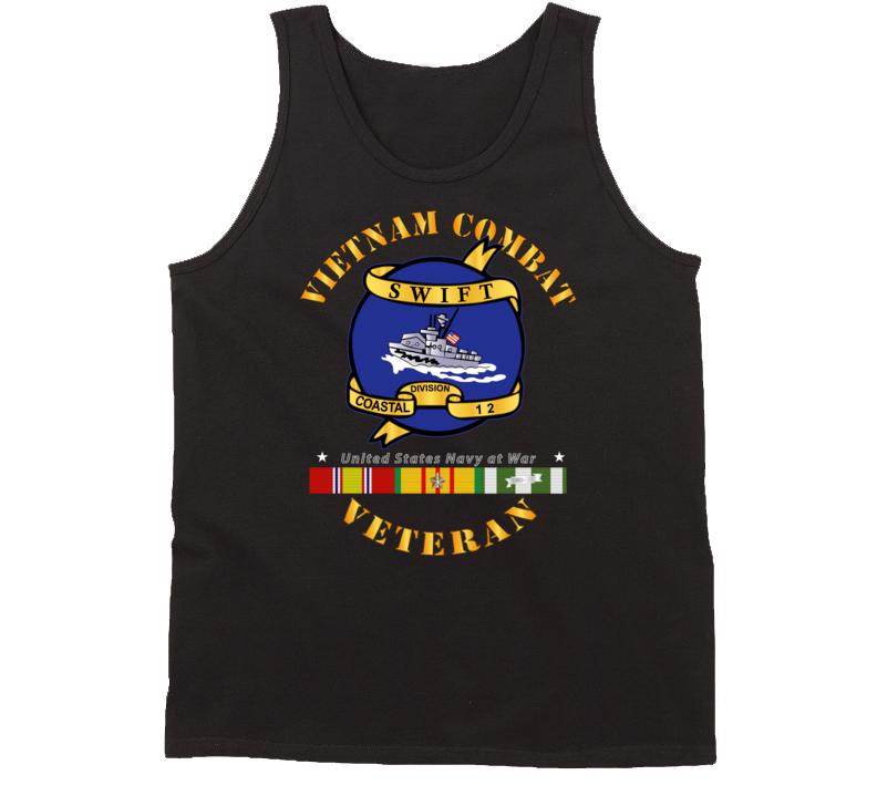 Navy - Vietnam Cbt Vet - Navy Coastal Div 12 - Swift W Svc Tanktop