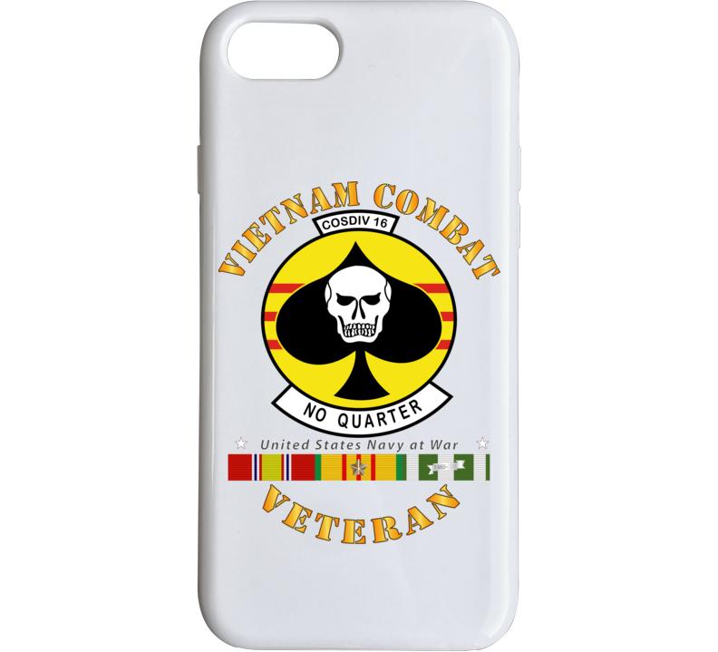 Navy - Vietnam Cbt Vet - Navy Coastal Div 16 - No Quarter On Spade W Svc Phone Case