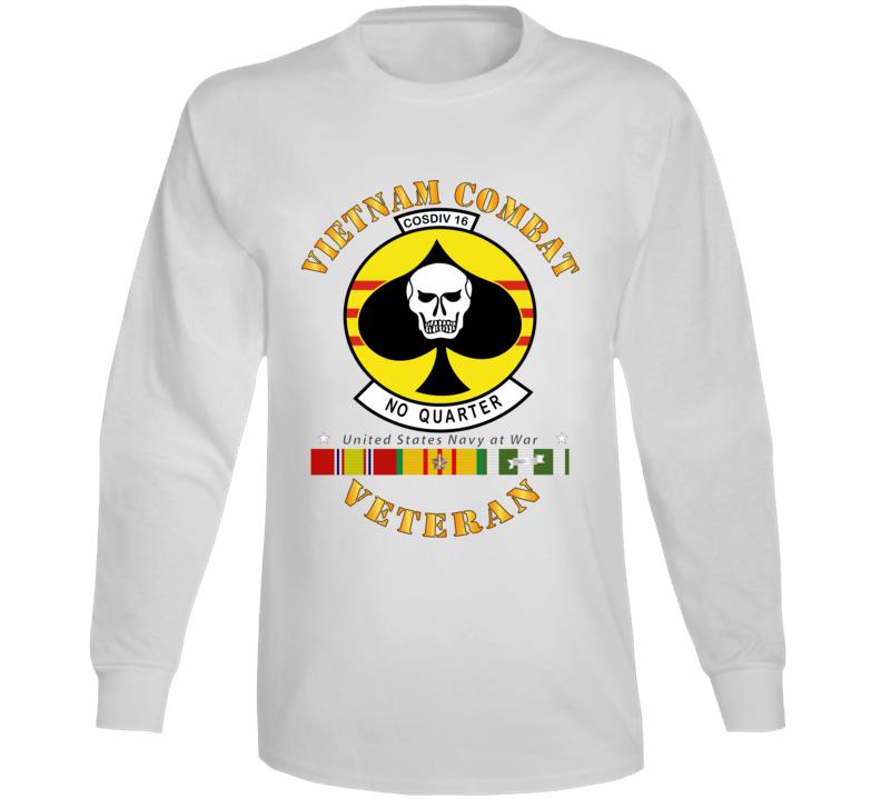 Navy - Vietnam Cbt Vet - Navy Coastal Div 16 - No Quarter On Spade W Svc Long Sleeve