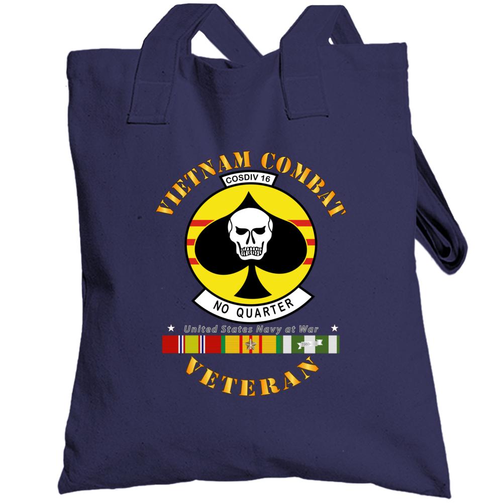 Navy - Vietnam Cbt Vet - Navy Coastal Div 16 - No Quarter On Spade W Svc Totebag