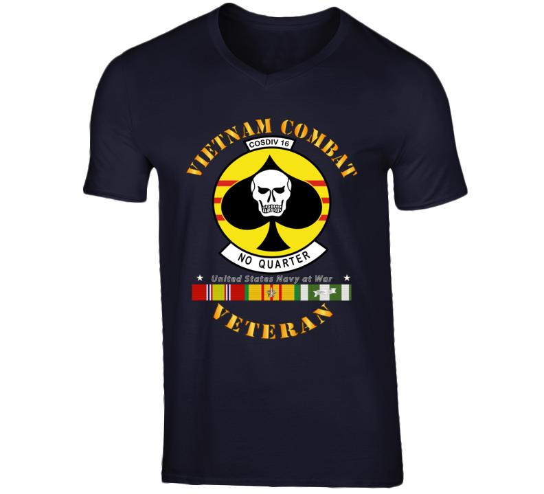 Navy - Vietnam Cbt Vet - Navy Coastal Div 16 - No Quarter On Spade W Svc T Shirt