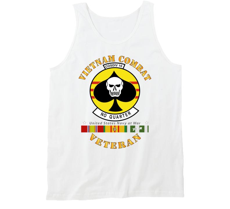 Navy - Vietnam Cbt Vet - Navy Coastal Div 16 - No Quarter On Spade W Svc Tanktop