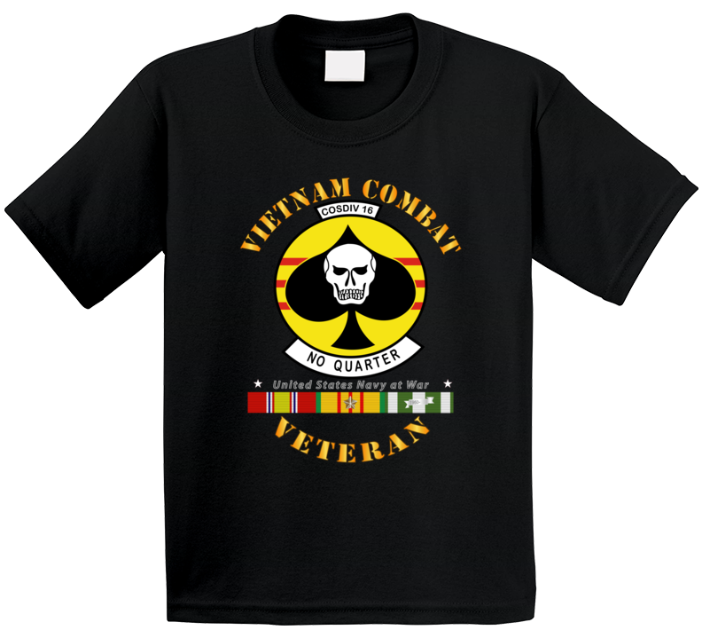 Navy - Vietnam Cbt Vet - Navy Coastal Div 16 - No Quarter On Spade W Svc T Shirt