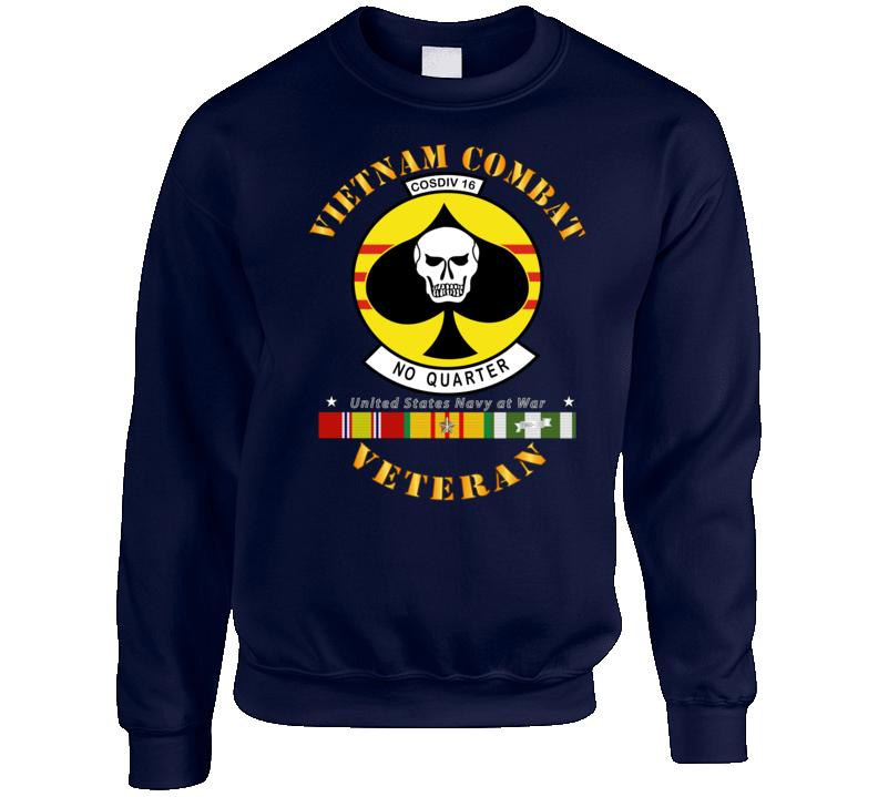 Navy - Vietnam Cbt Vet - Navy Coastal Div 16 - No Quarter On Spade W Svc Crewneck Sweatshirt