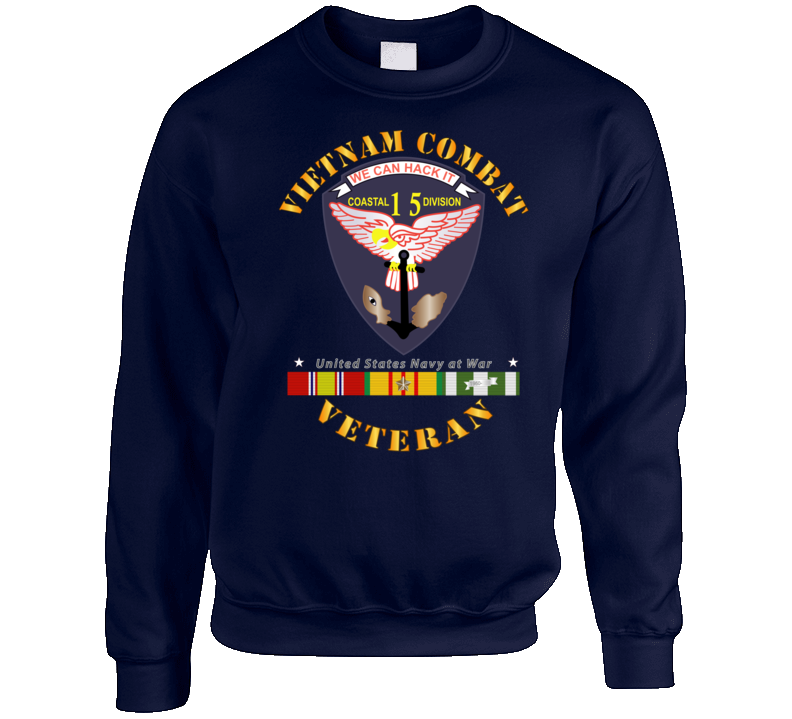 Navy - Vietnam Cbt Vet - Navy Coastal Div 15 - Swift W Svc Crewneck Sweatshirt