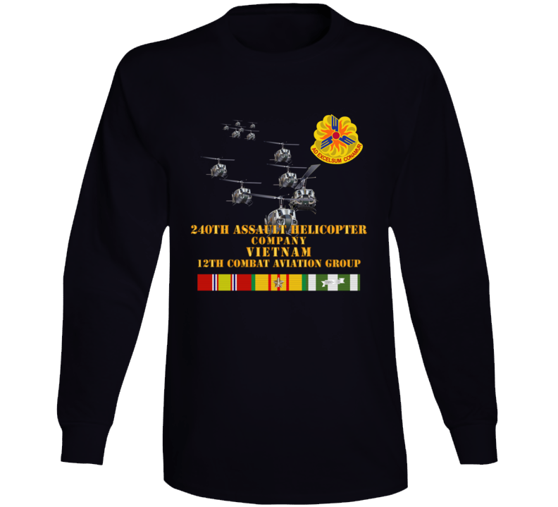 Army - 240th Assault Helicopter Co W 12th Cab W Vn Svc Long Sleeve T Shirt