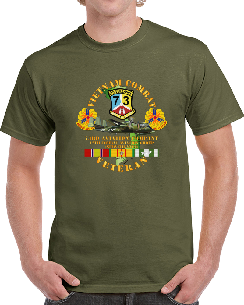 Army - Vietnam Combat Vet - 73rd Aviation Company - 12th Combat Aviation Group - Vn  Svc T Shirt