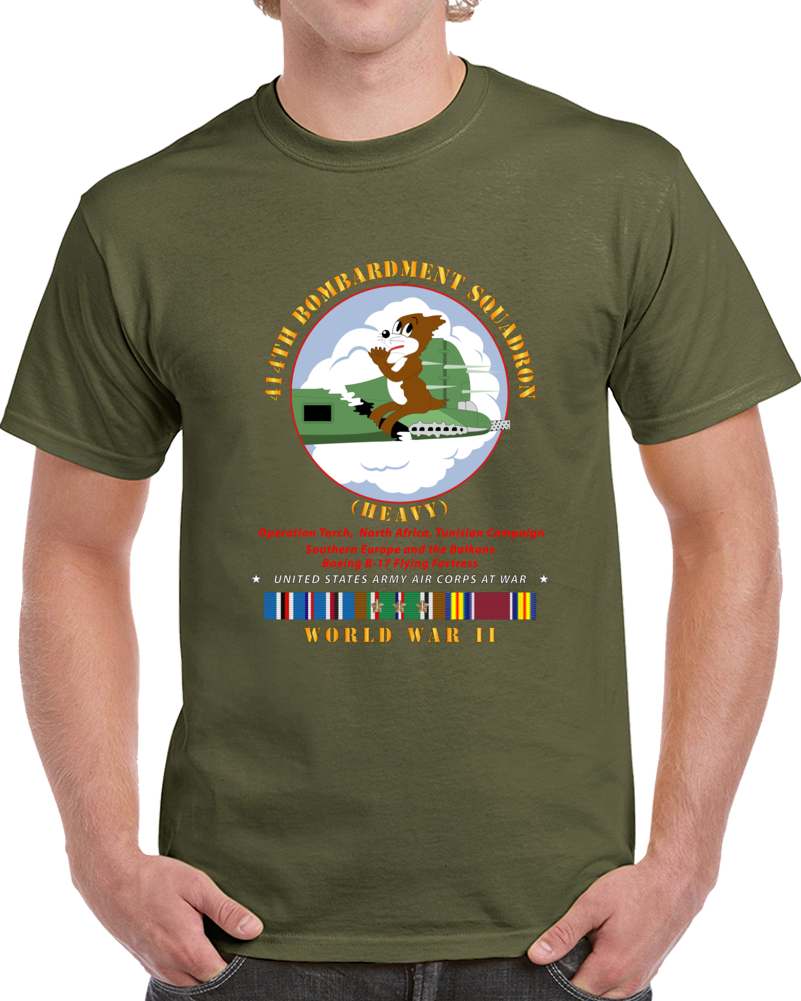 Army - 414th Bombardment Squadron (heavy) - Aac W  Wwii  Eu Svc T Shirt
