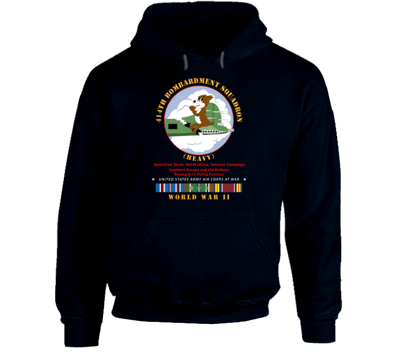 Army - 414th Bombardment Squadron (heavy) - Aac W  Wwii  Eu Svc Hoodie