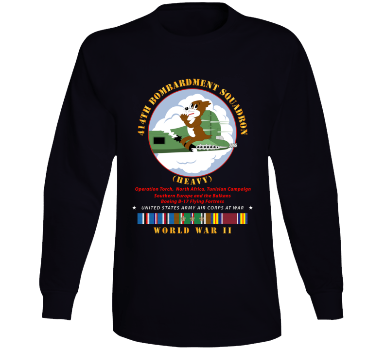 Army - 414th Bombardment Squadron (heavy) - Aac W  Wwii  Eu Svc Long Sleeve T Shirt
