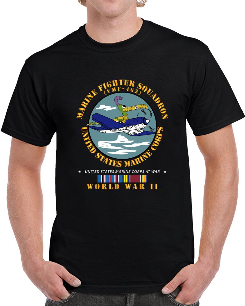 Usmc - Marine Fighter Squadron - Vmf-462  W Am Svc Wwii T Shirt