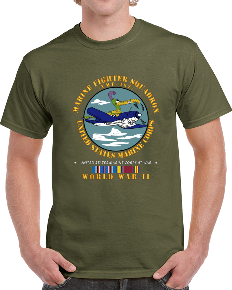 Usmc - Marine Fighter Squadron - Vmf-462  W Am Svc Wwii T Shirt