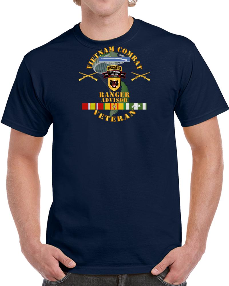 Army - Vietnam Combat Infantry Vet W  Vietnamese Ranger Advisor W Parachute  X 300 T Shirt