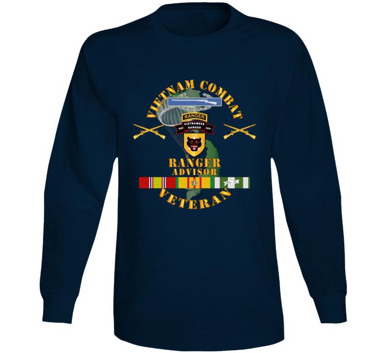 Army - Vietnam Combat Infantry Vet W  Vietnamese Ranger Advisor W Parachute  X 300 Long Sleeve T Shirt