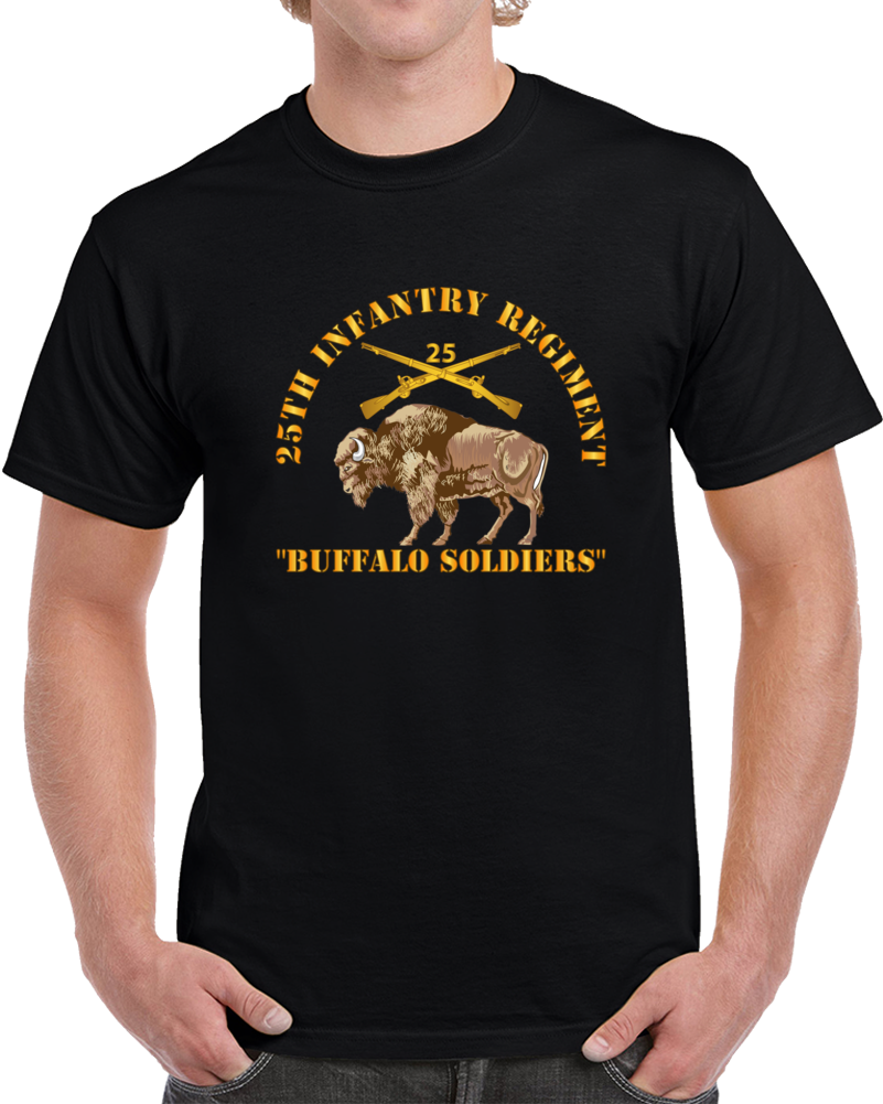 Army - 25th Infantry Regiment - Buffalo Soldiers W 25th Inf Branch Insignia T Shirt