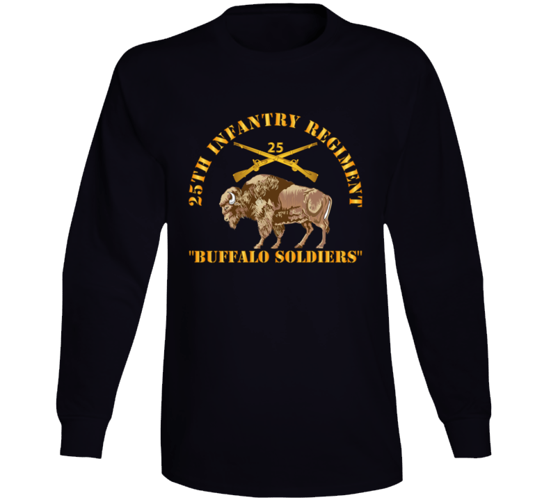 Army - 25th Infantry Regiment - Buffalo Soldiers W 25th Inf Branch Insignia Long Sleeve T Shirt