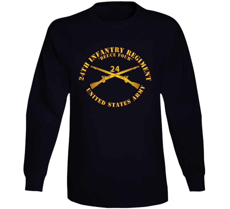 Army - 24th Infantry Regiment - Deuce Four  - Branch Insignia Long Sleeve T Shirt