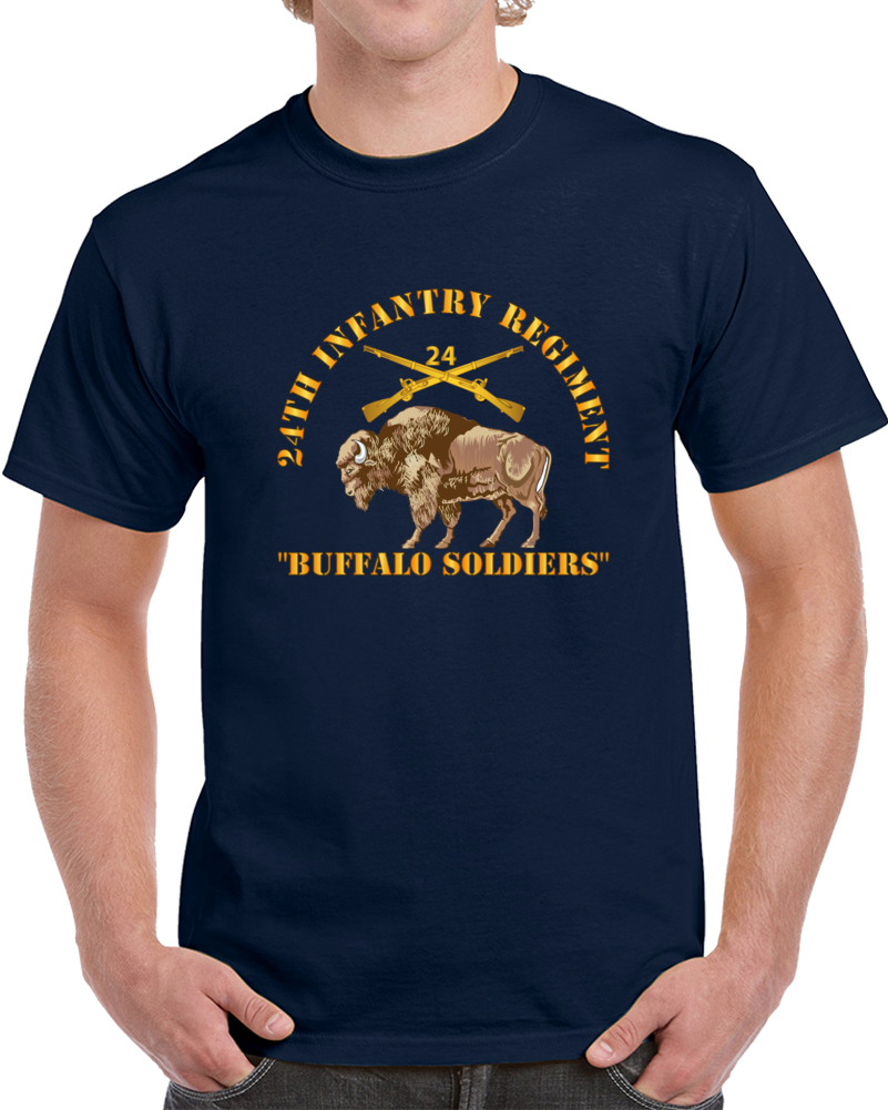 Army - 24th Infantry Regiment - Buffalo Soldiers W 24th Inf Branch Insignia T Shirt