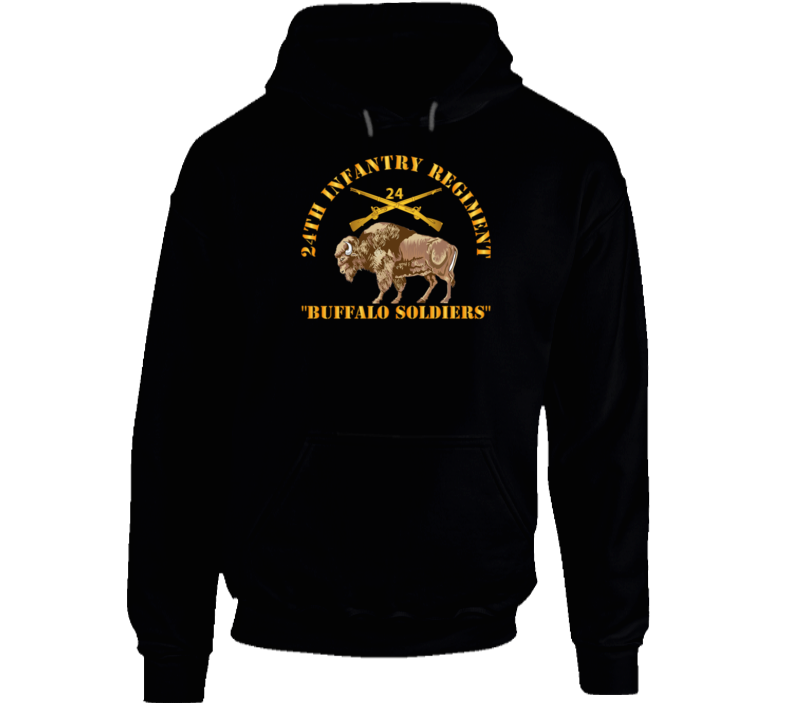 Army - 24th Infantry Regiment - Buffalo Soldiers W 24th Inf Branch Insignia Hoodie