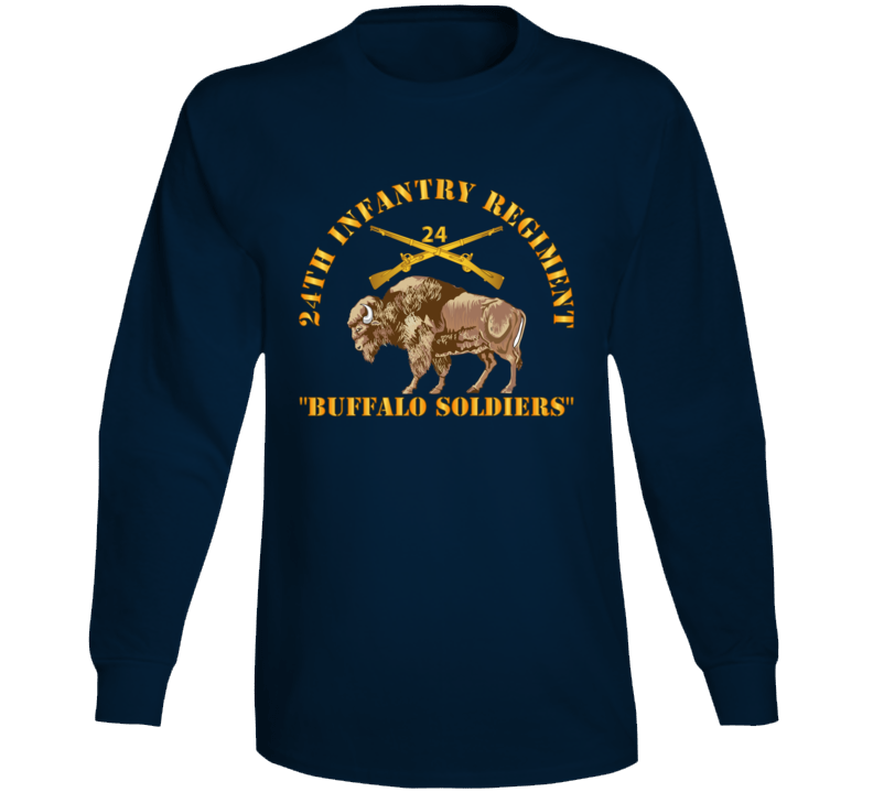 Army - 24th Infantry Regiment - Buffalo Soldiers W 24th Inf Branch Insignia Long Sleeve T Shirt