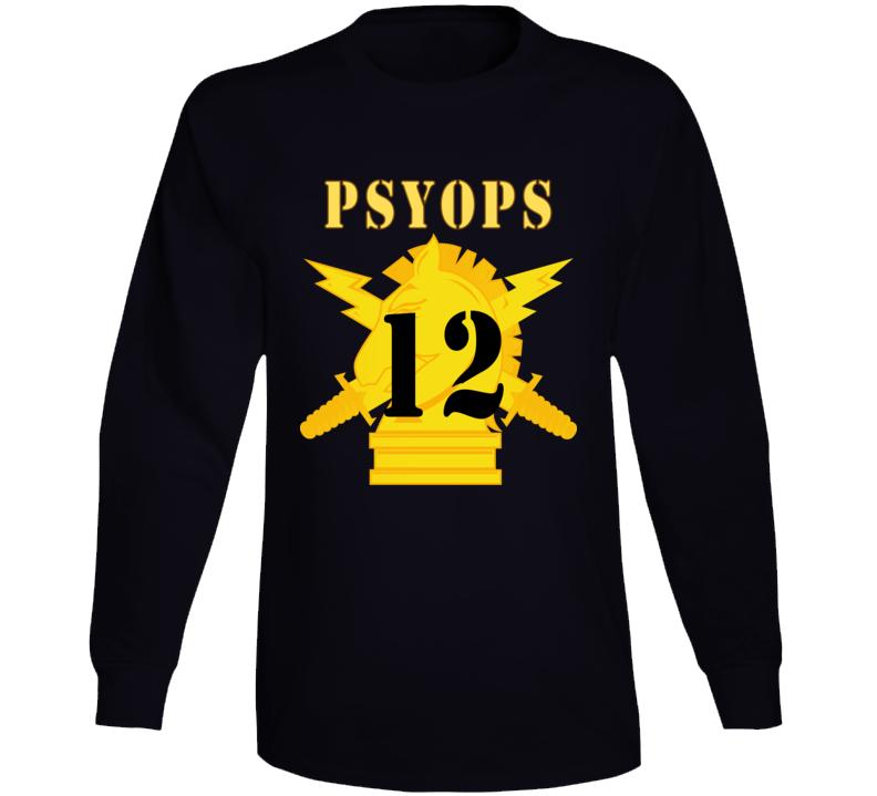 Army - Psyops W Branch Insignia - 12th Battalion Numeral - Line X 300 - Long Sleeve T Shirt
