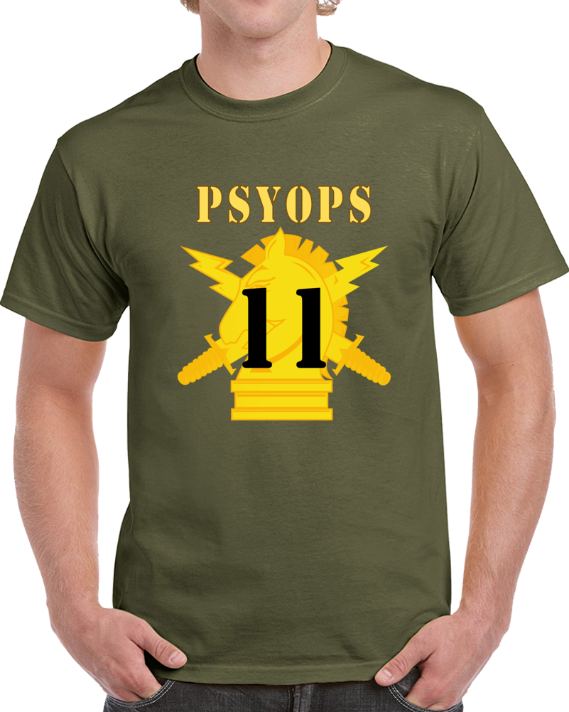 Army - Psyops W Branch Insignia - 11th Battalion Numeral - Line X 300 - T Shirt