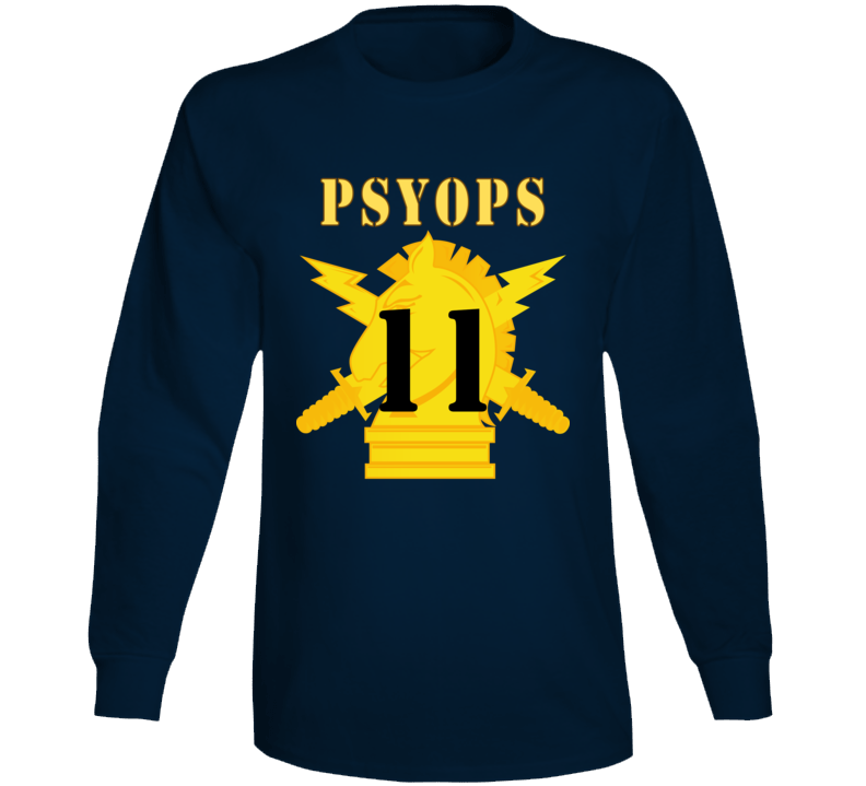 Army - Psyops W Branch Insignia - 11th Battalion Numeral - Line X 300 - Long Sleeve T Shirt