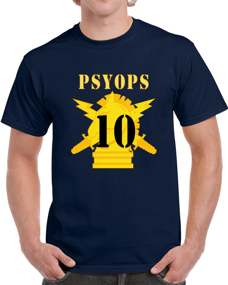 Army - Psyops W Branch Insignia - 10th Battalion Numeral - Line X 300 - T Shirt
