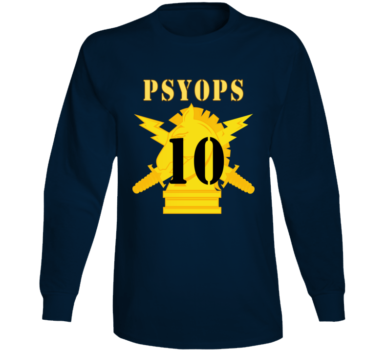 Army - Psyops W Branch Insignia - 10th Battalion Numeral - Line X 300 - Long Sleeve T Shirt