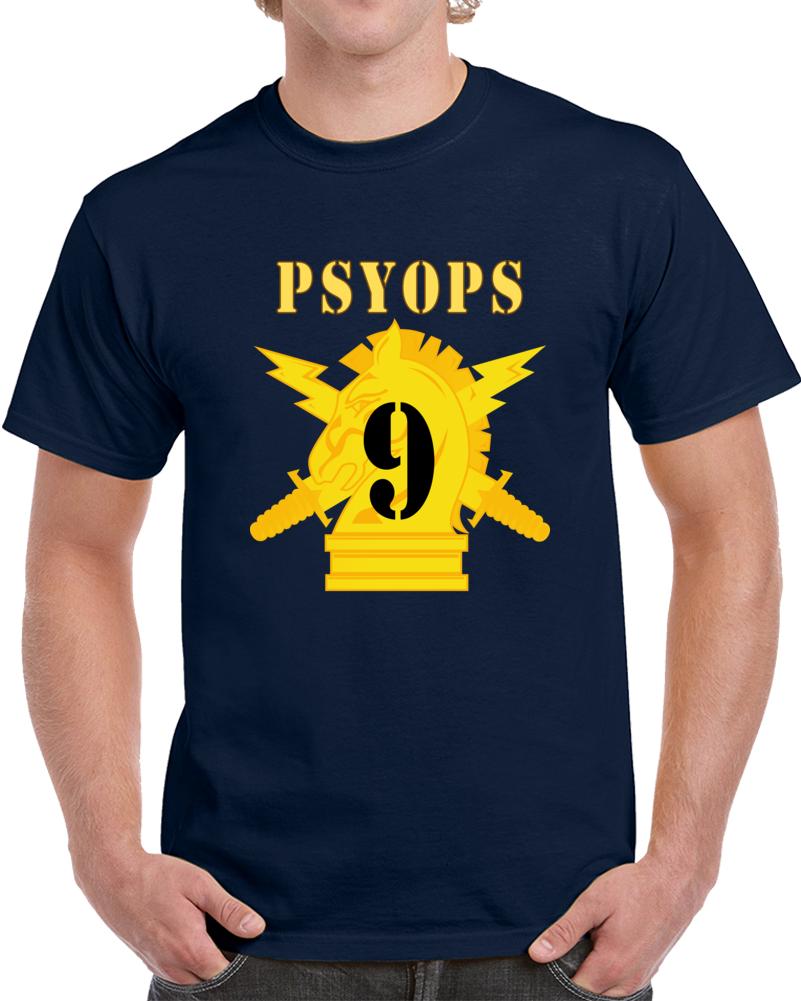 Army - Psyops W Branch Insignia - 9th Battalion Numeral - Line X 300 - T Shirt