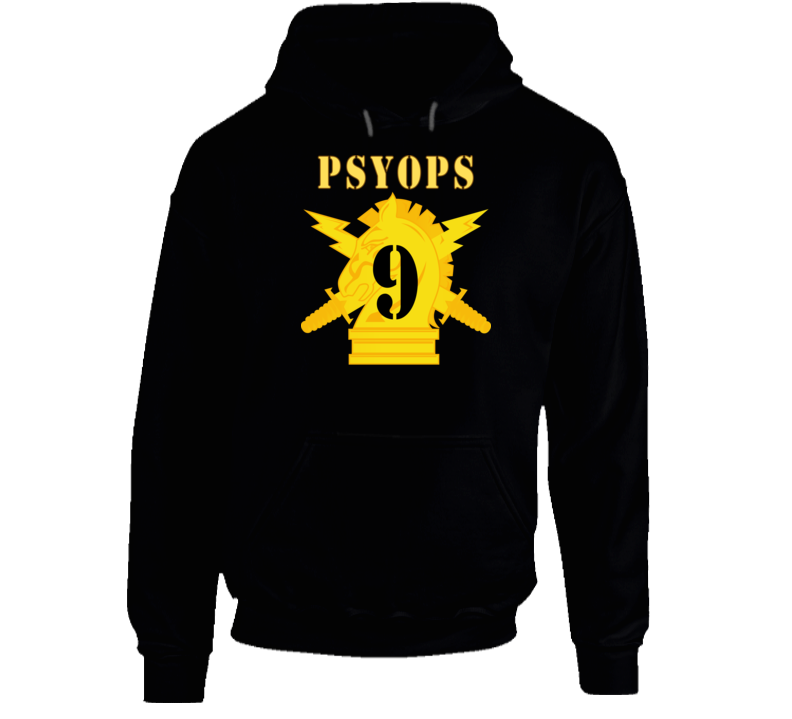 Army - Psyops W Branch Insignia - 9th Battalion Numeral - Line X 300 - Hoodie