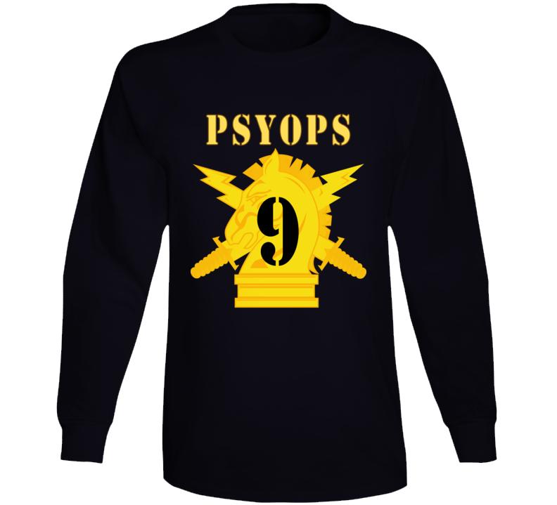 Army - Psyops W Branch Insignia - 9th Battalion Numeral - Line X 300 - Long Sleeve T Shirt