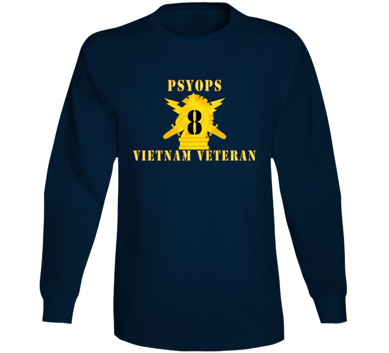 Army - Psyops W Branch Insignia - 8th Battalion Numeral - W Vietnam Vet  Below X 300 - Long Sleeve T Shirt
