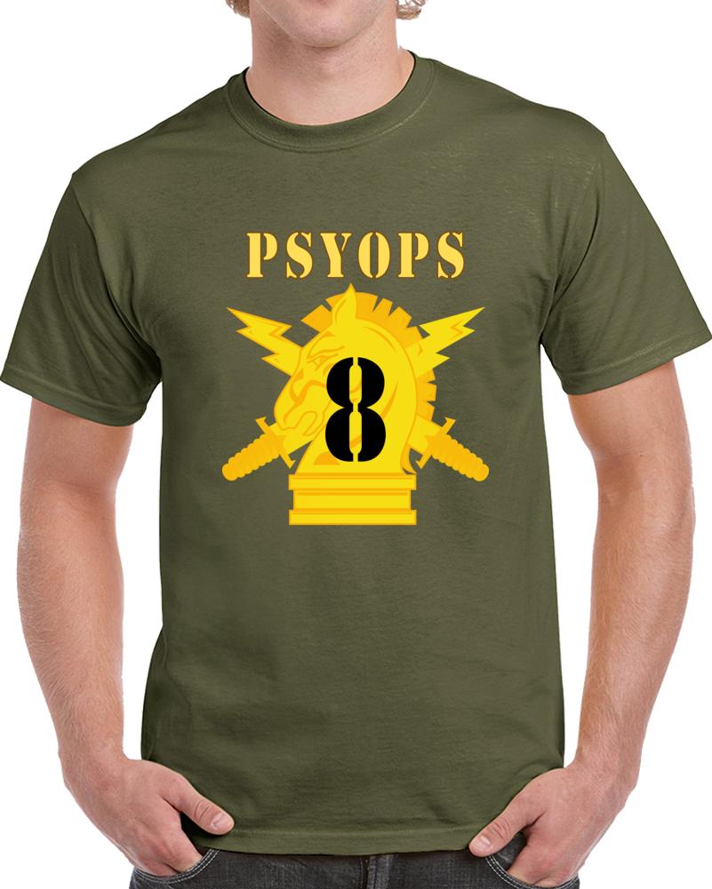 Army - Psyops W Branch Insignia - 8th Battalion Numeral - Line X 300 - T Shirt