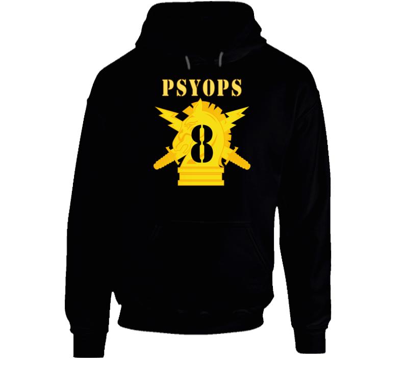 Army - Psyops W Branch Insignia - 8th Battalion Numeral - Line X 300 - Hoodie