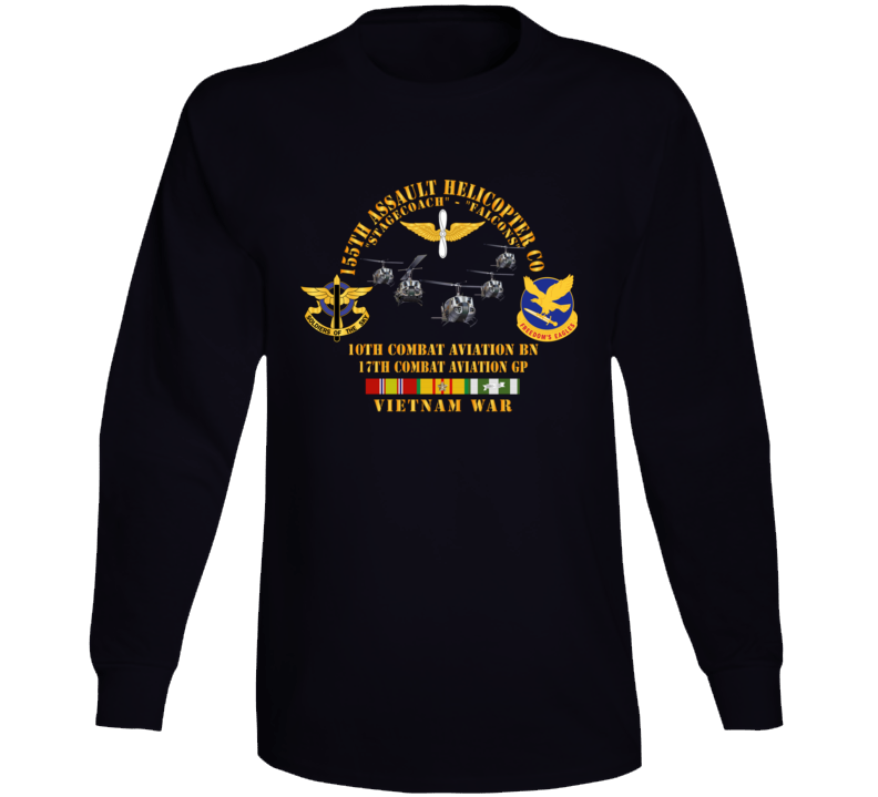 Army - 155th Ahc - Stagecoach - Falcons W Vn Svc Long Sleeve T Shirt