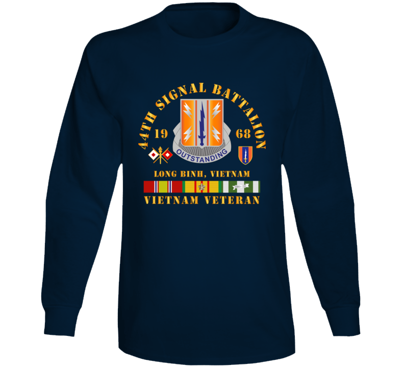 Army - 44th Signal Bn 1st Signal Bde W Vn Svc 1968 X 300dpi Long Sleeve T Shirt