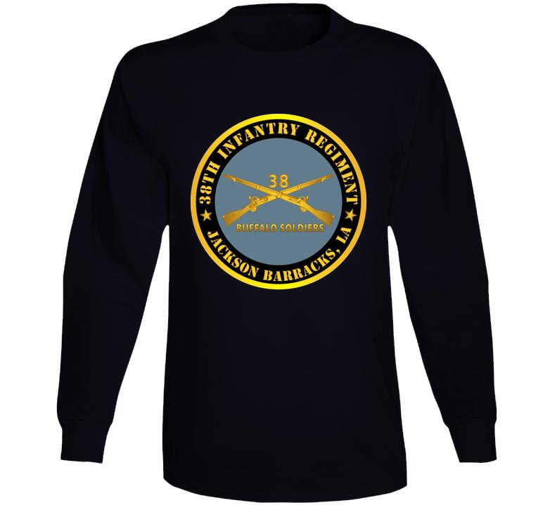 Army - 38th Infantry Regiment - Buffalo Soldiers - Jackson Barracks, La W Inf Branch Long Sleeve T Shirt
