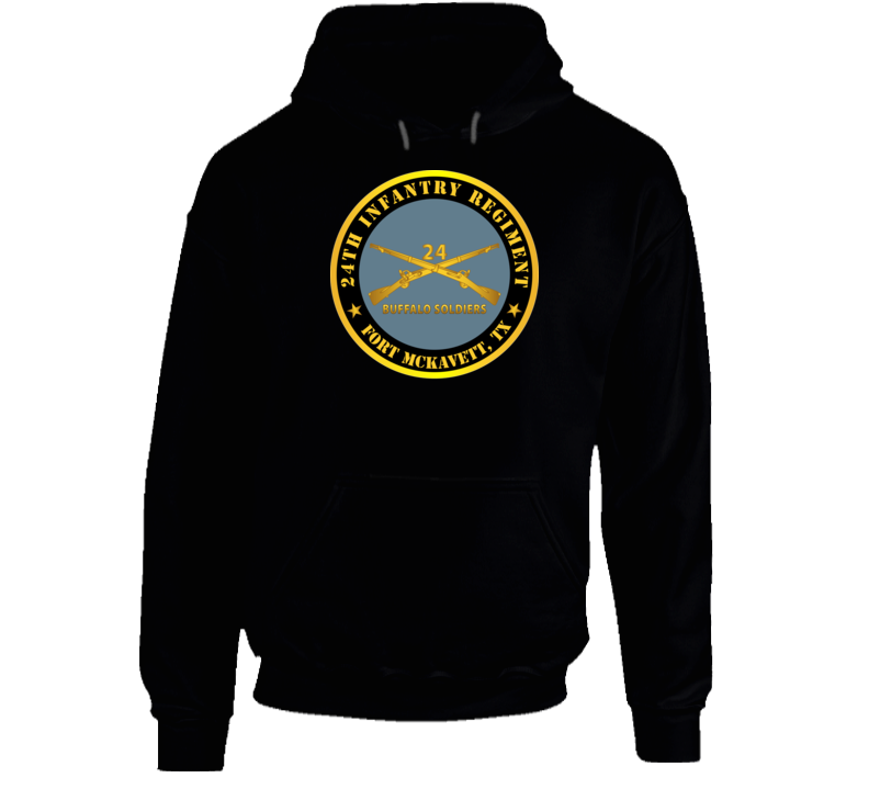Army - 24th Infantry Regiment - Fort Mckavett, Tx - Buffalo Soldiers W Inf Branch Hoodie
