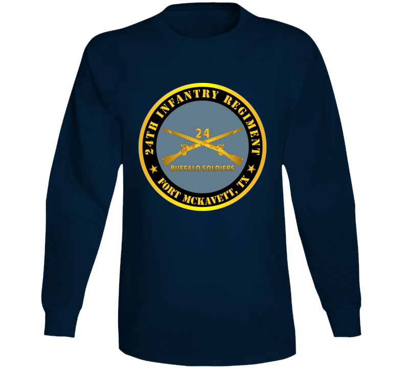 Army - 24th Infantry Regiment - Fort Mckavett, Tx - Buffalo Soldiers W Inf Branch Long Sleeve T Shirt