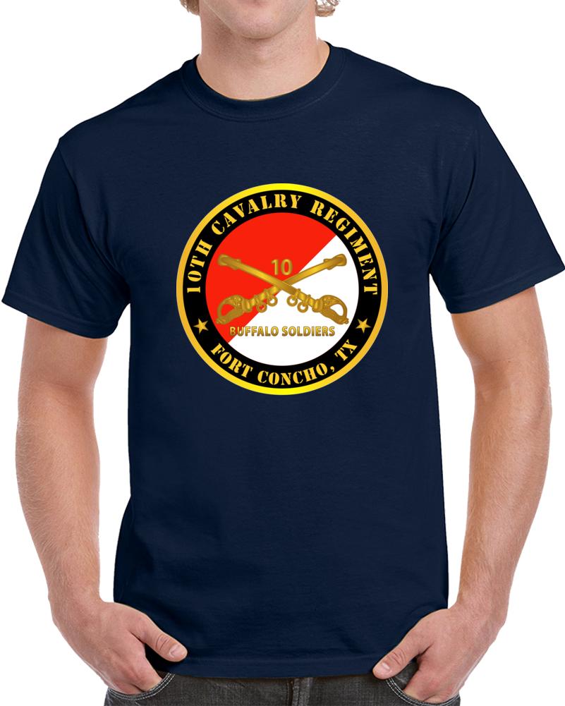 Army - 10th Cavalry Regiment - Fort Concho, Tx - Buffalo Soldiers W Cav Branch T Shirt