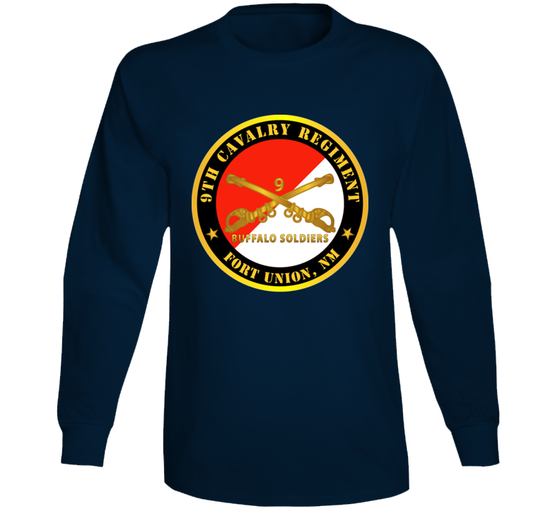 Army - 9th Cavalry Regiment - Fort Union,  Nm - Buffalo Soldiers W Cav Branch Long Sleeve T Shirt