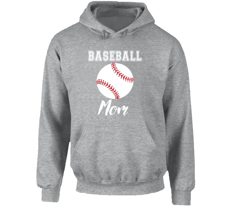 Baseball Mom, Baseball Mom Gray Hoodie, Baseball Mom Sweatshirt, Baseball Mom