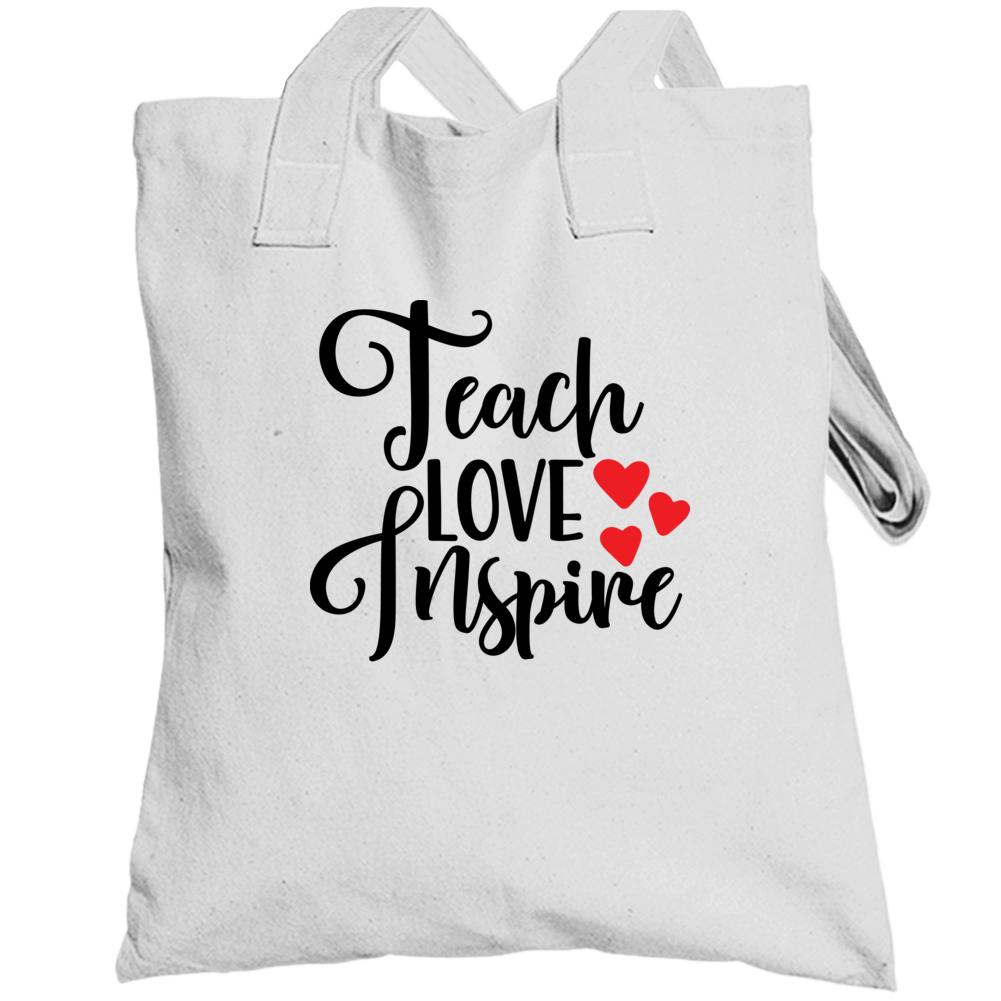 Teach Love Inspire Totebag, White And Black, Teacher Gift, Teacher Appreaciation Totebag